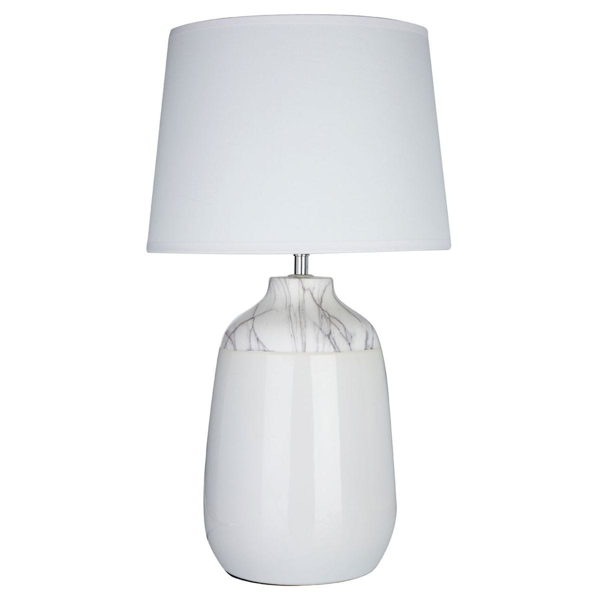 Premier Housewares Wenita Table Lamp in White Ceramic with White Fabric Shade