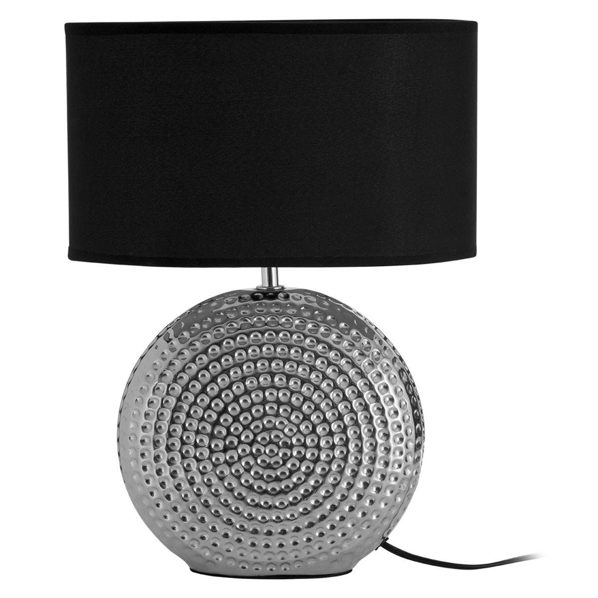 Premier Housewares Large Table Lamp with Hammered Chrome Finish