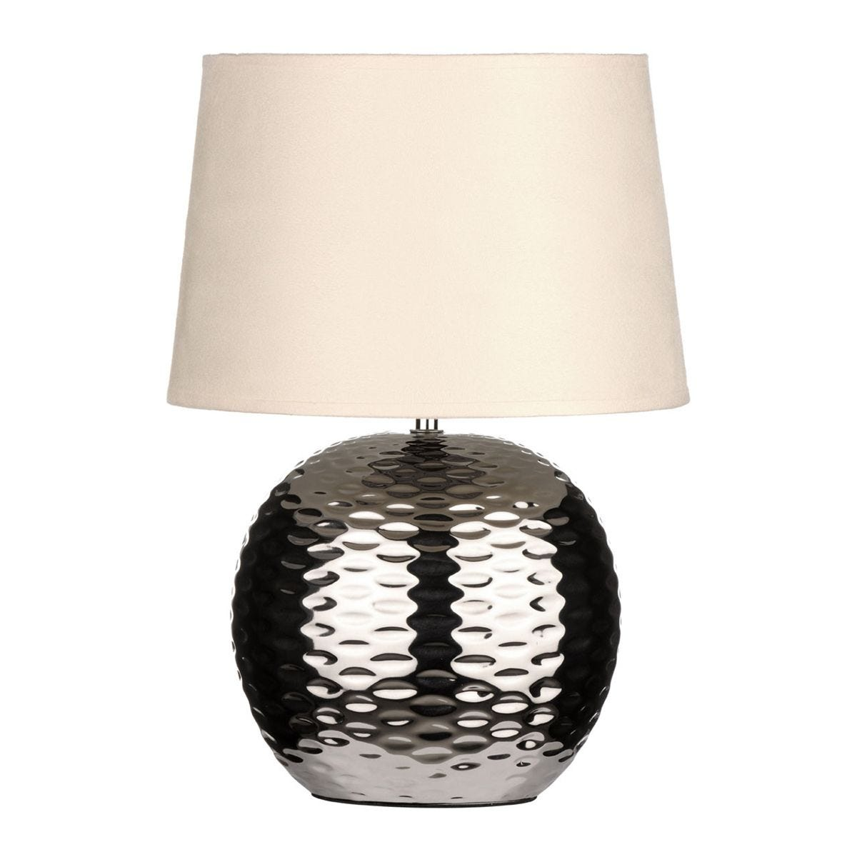Premier Housewares Table Lamp with Dimple Effect Chrome Base & Beige Fabric Shade
