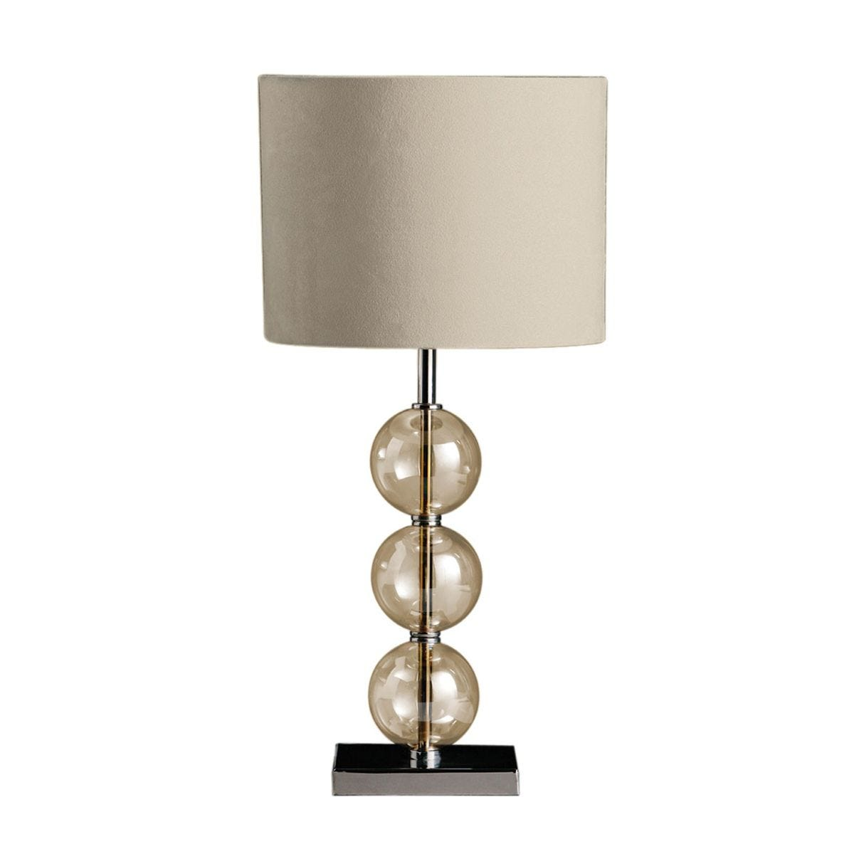 Premier Housewares Mistro Table Lamp with Amber Orb/Chrome Base & Cream Faux Suede Shade