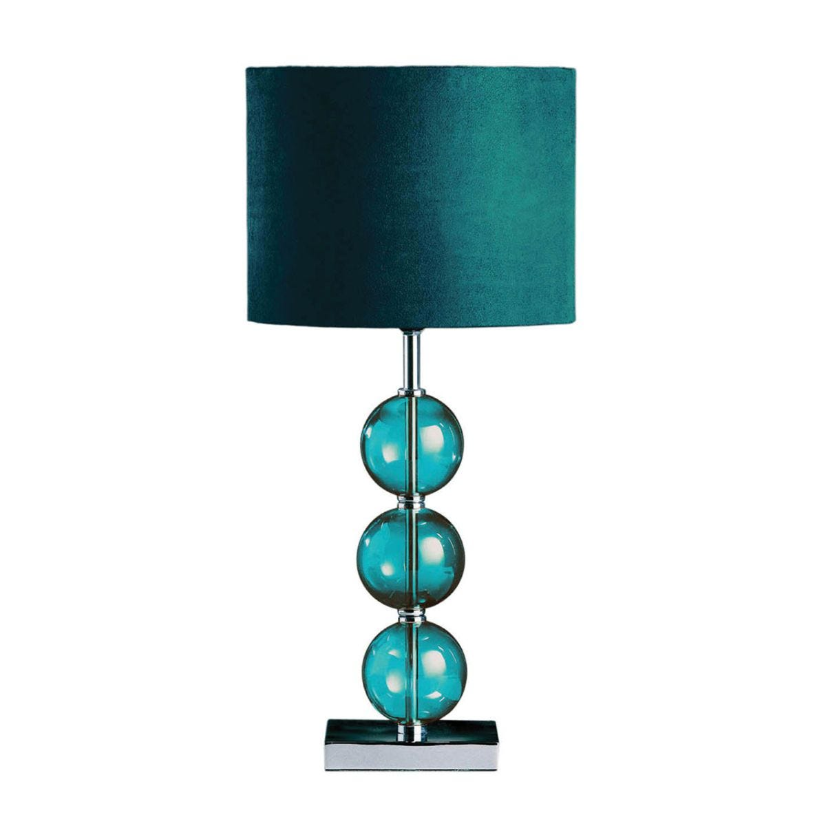 Premier Housewares Mistro Table Lamp with Teal Orb/Chrome Base & Teal Faux Suede Shade