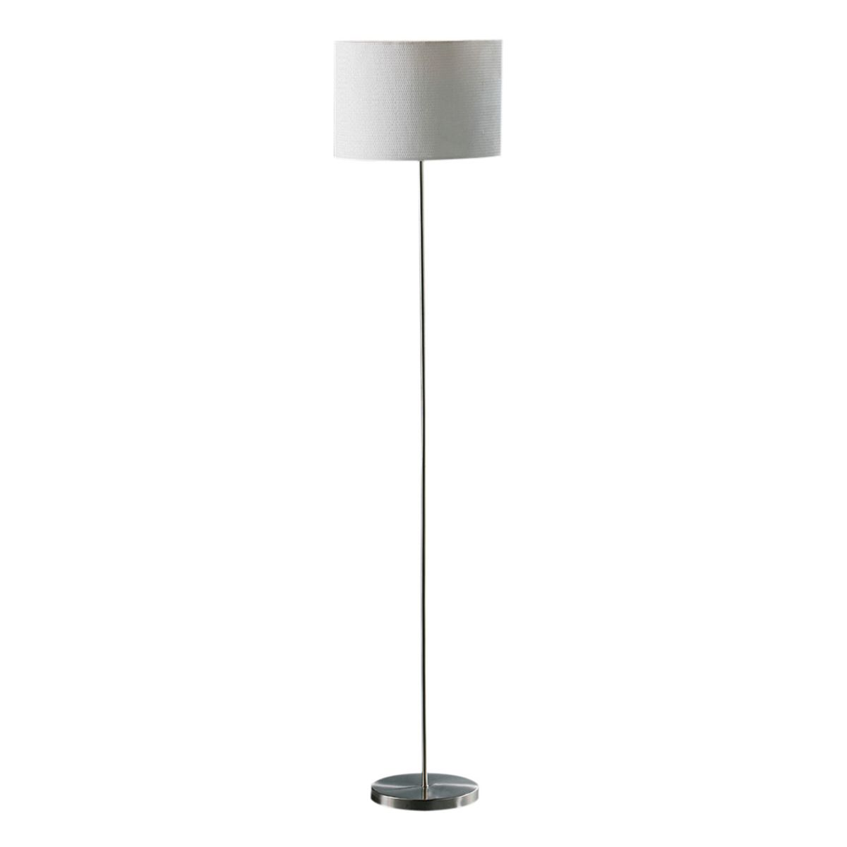 Premier Housewares Forma Chrome Effect Floor Lamp with Cream Waffle Effect Shade