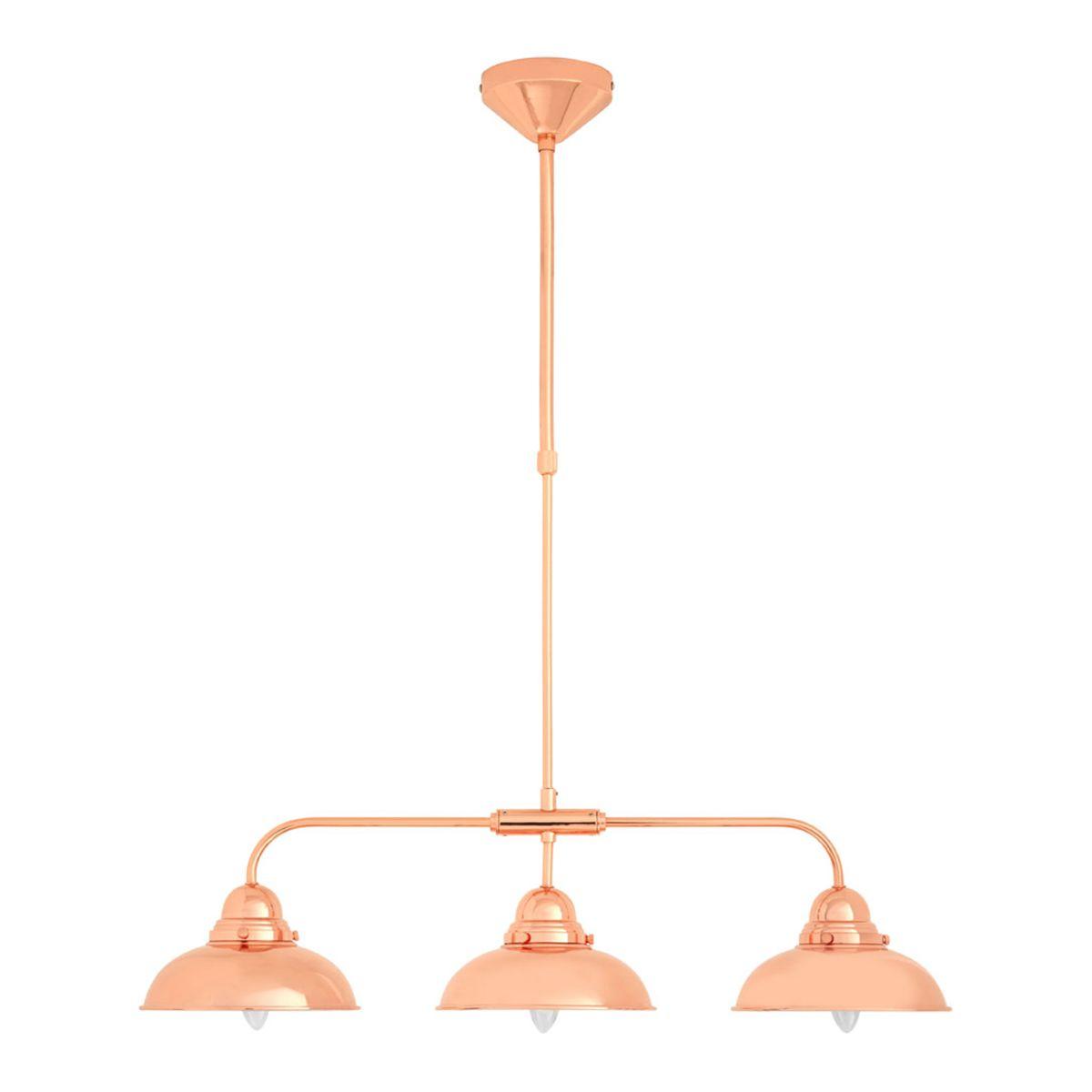 Premier Housewares Jasper Pendant Light 1 Beam 3 Shades - Copper Finish