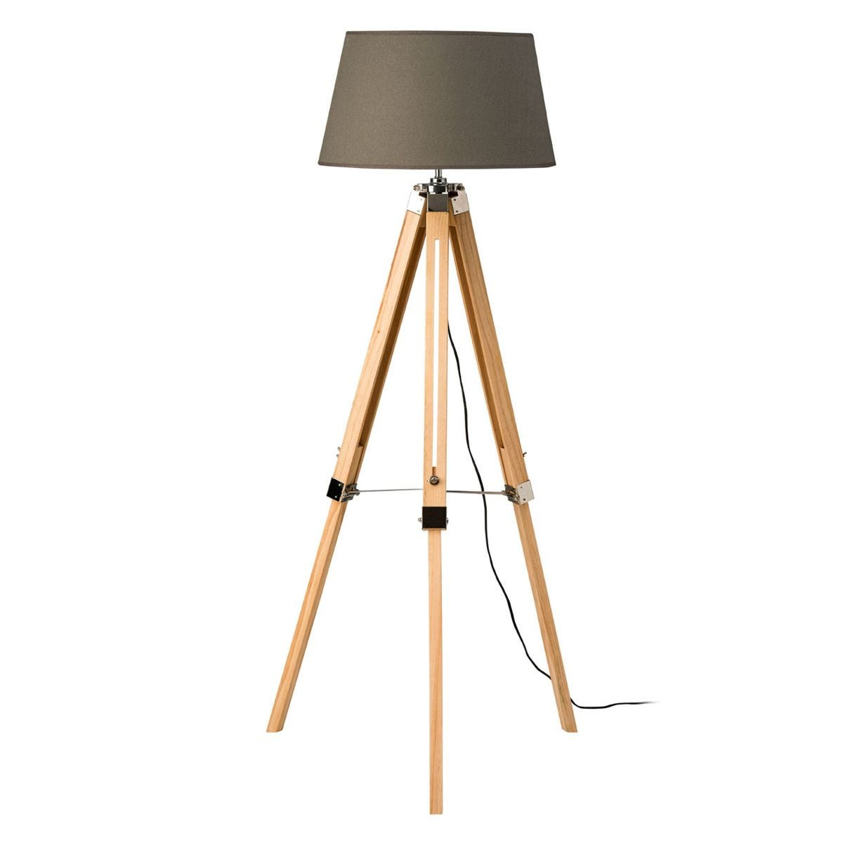 Premier Housewares Tripod Floor Lamp With Grey Shade Light Wood Base Robert Dyas