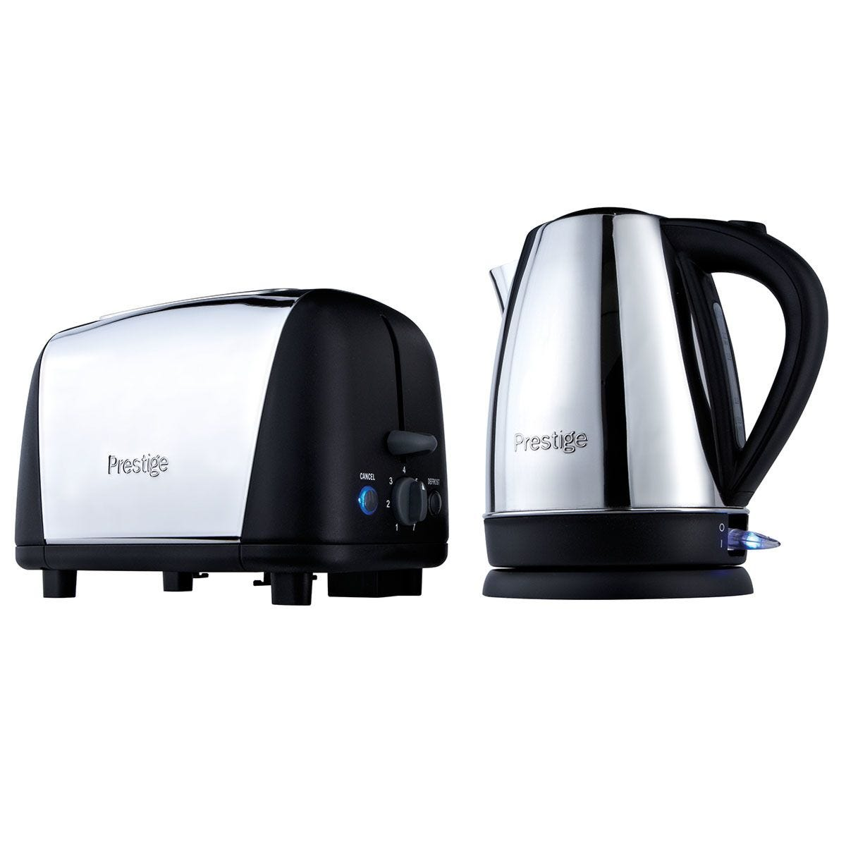 Prestige 53232 Breakfast Kettle and Toaster Set – Stainless Steel & Black