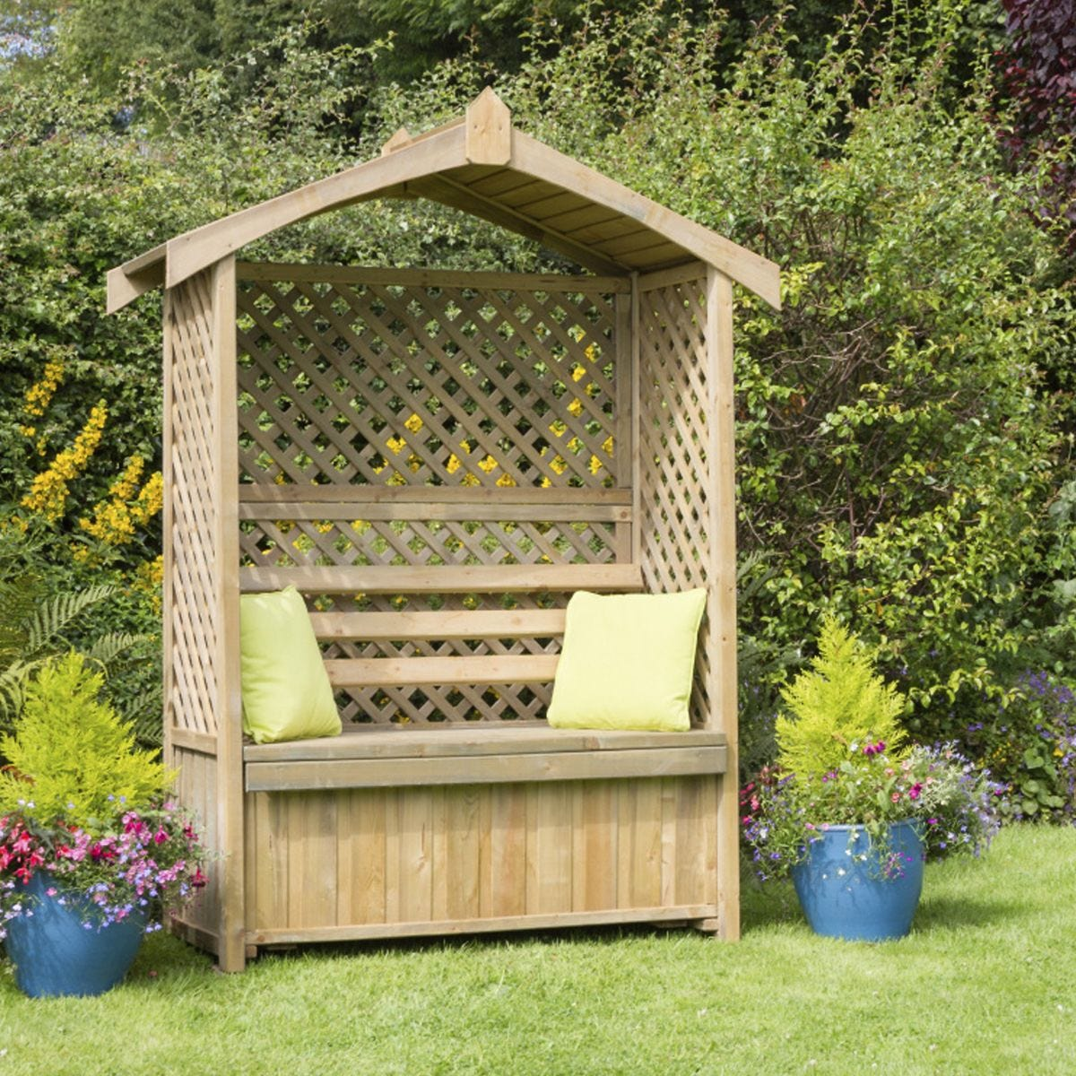 Zest Lincoln Wooden Arbour with Storage Box