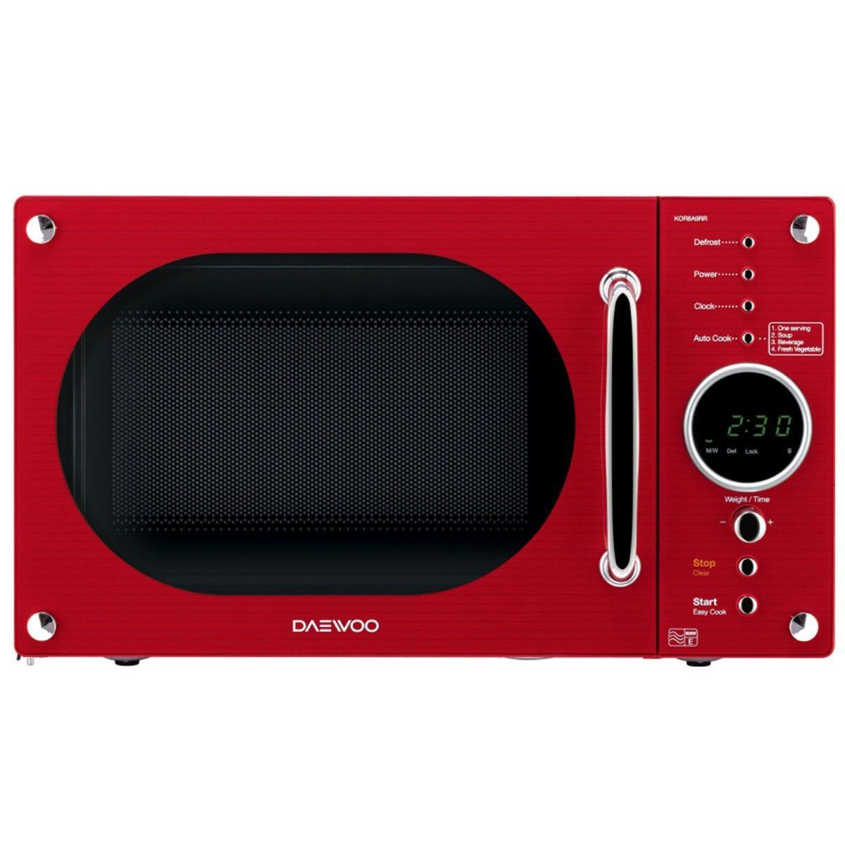 Daewoo Retro Design 800W 23L Manual Microwave - Red
