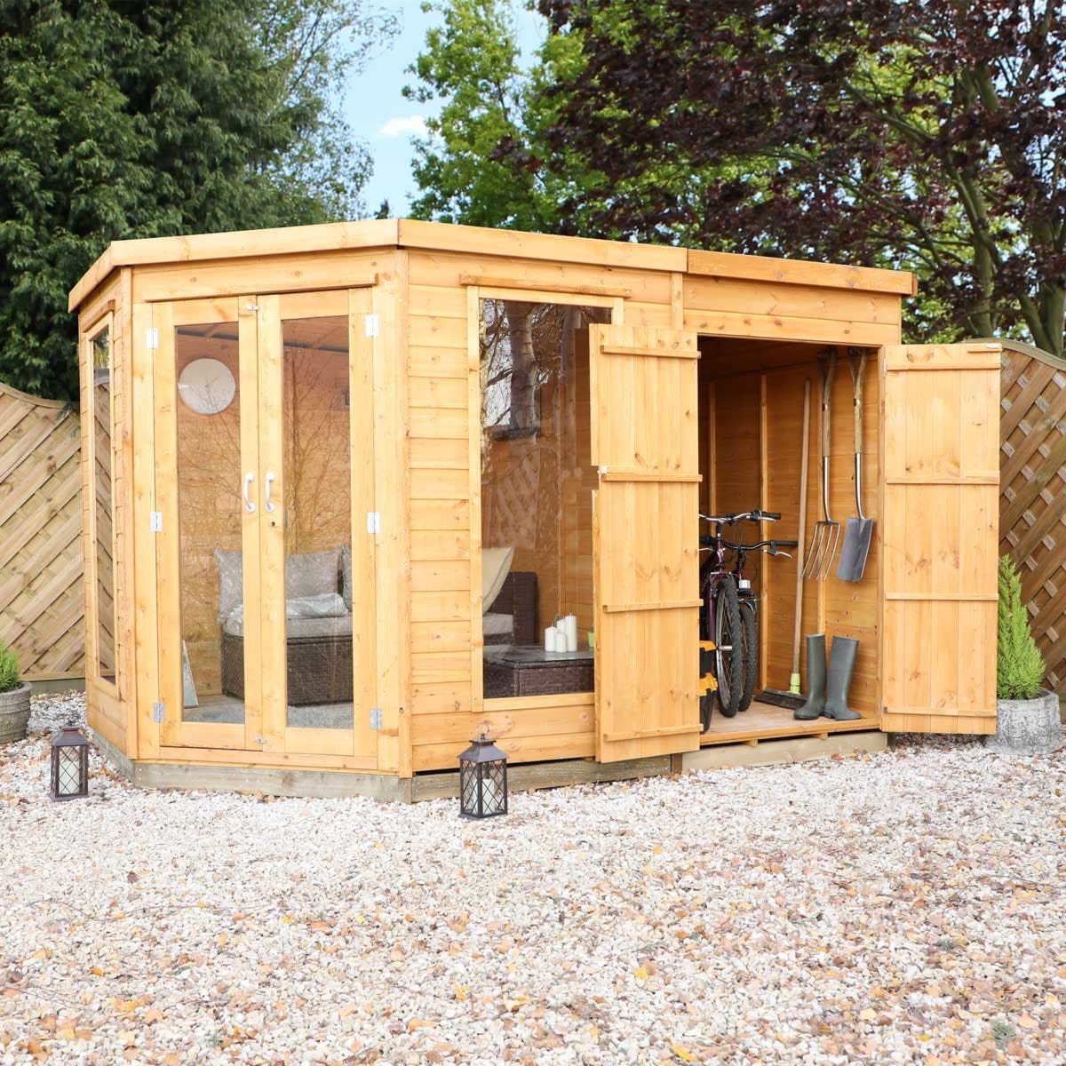 Mercia Corner Summerhouse with Side Shed - 7 x 11ft