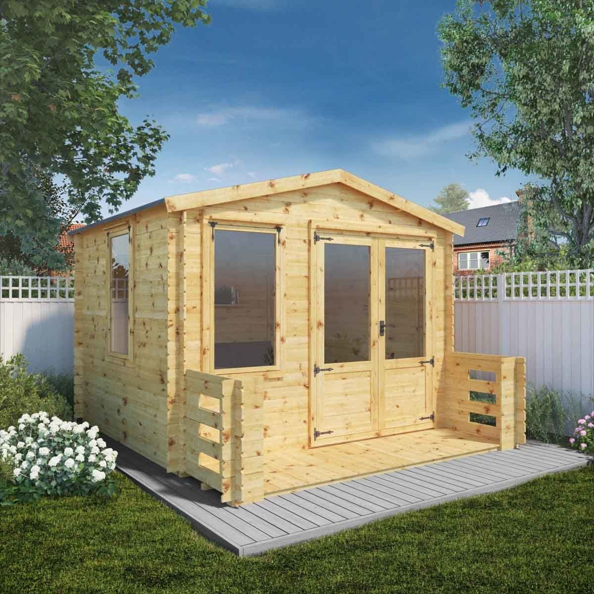 Mercia 19mm Log Cabin with Veranda - 3.3 x 3.7m