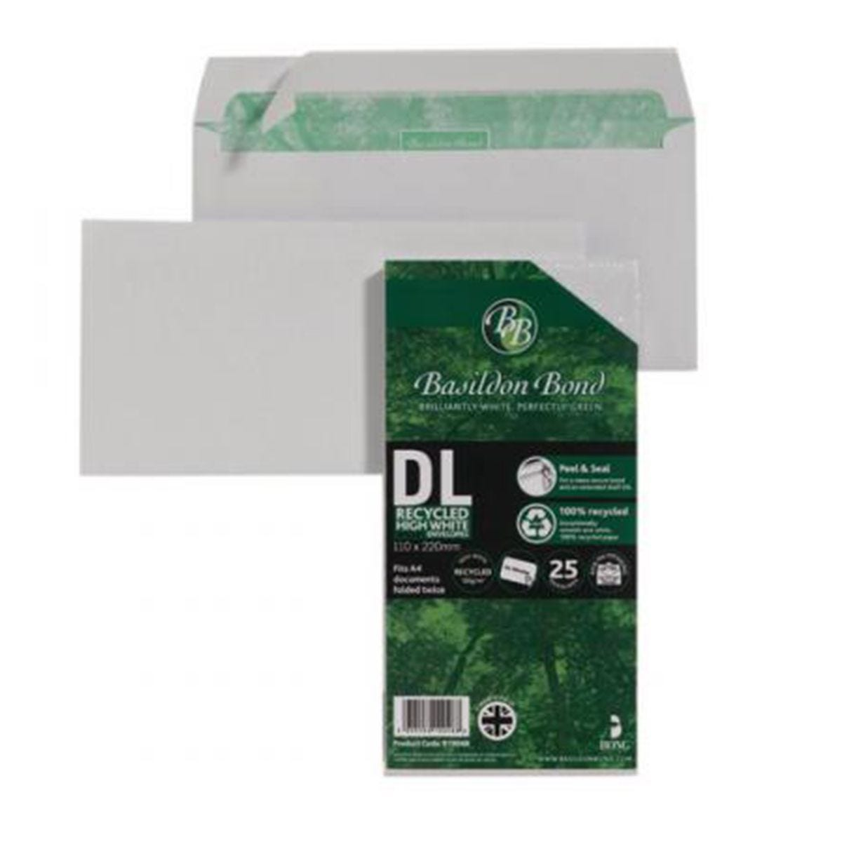 Basildon Bond DL 120gsm Peel and Seal Recycled Plain Envelope White - Pack of 25