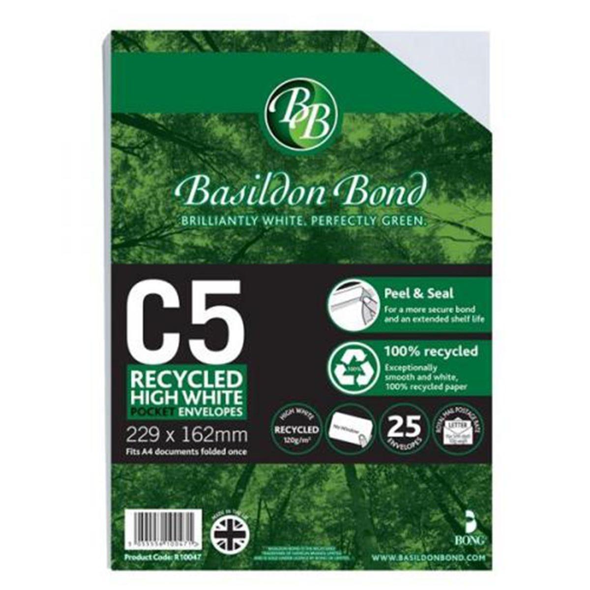 Basildon Bond C5 Peel and Seal 120g/m2 Plain Recycled Business White Envelopes - Pack of 25