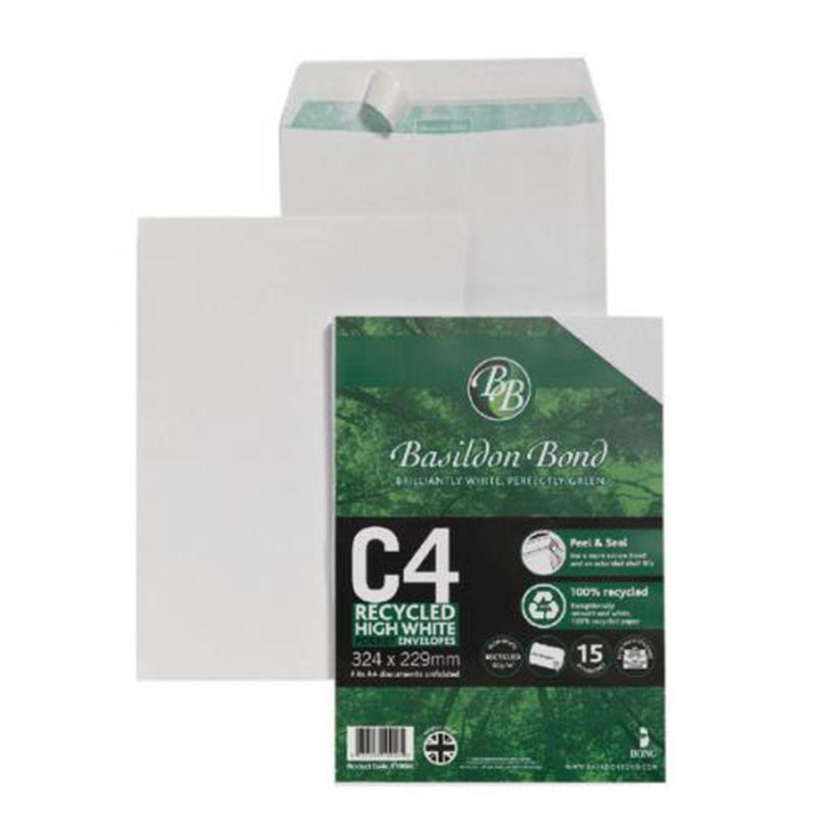 Basildon Bond Envelope C4 100gsm Peel and Seal Recycled Plain White - Pack of 15