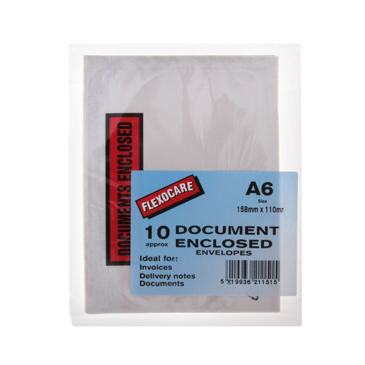 Flexocare Document Enclosed White Envelopes A6 - Pack of 10