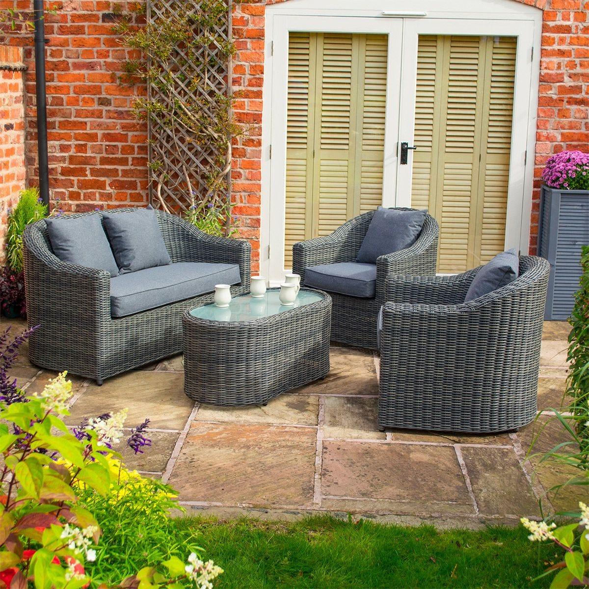 Rowlinson Bunbury Sofa Set in Grey Weave