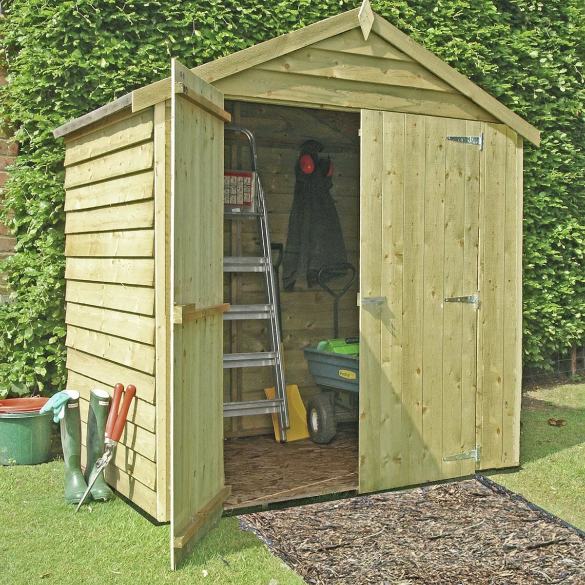 Shire Pressure-Treated Overlap Shed with Double Doors - 4 x 6