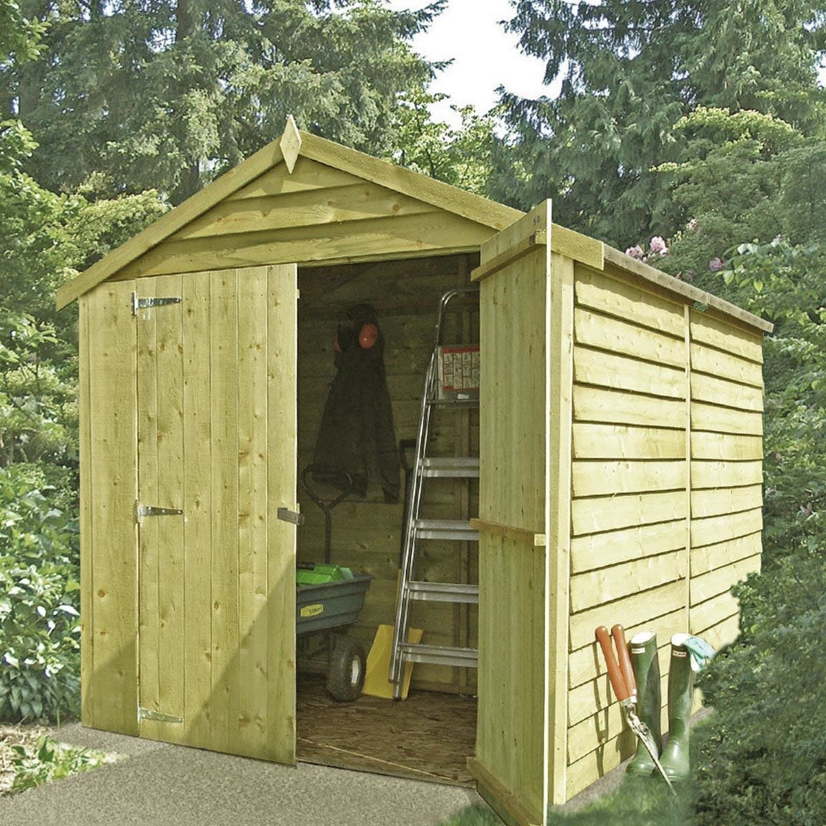 Shire Pressure-Treated Overlap Shed with Double Doors - 8 x 6