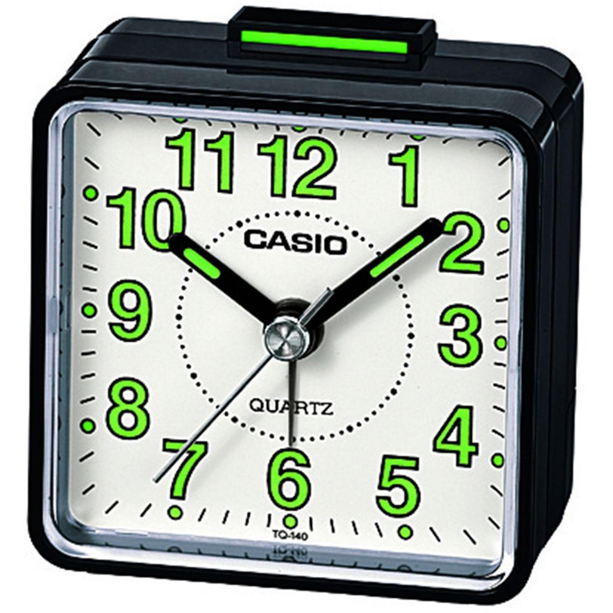 Casio Square Beep Alarm Clock - Black/Green