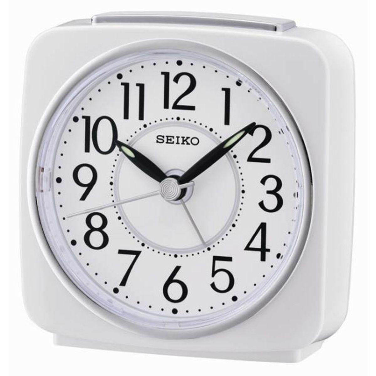 Seiko Square Beep Alarm Clock with Snooze - White