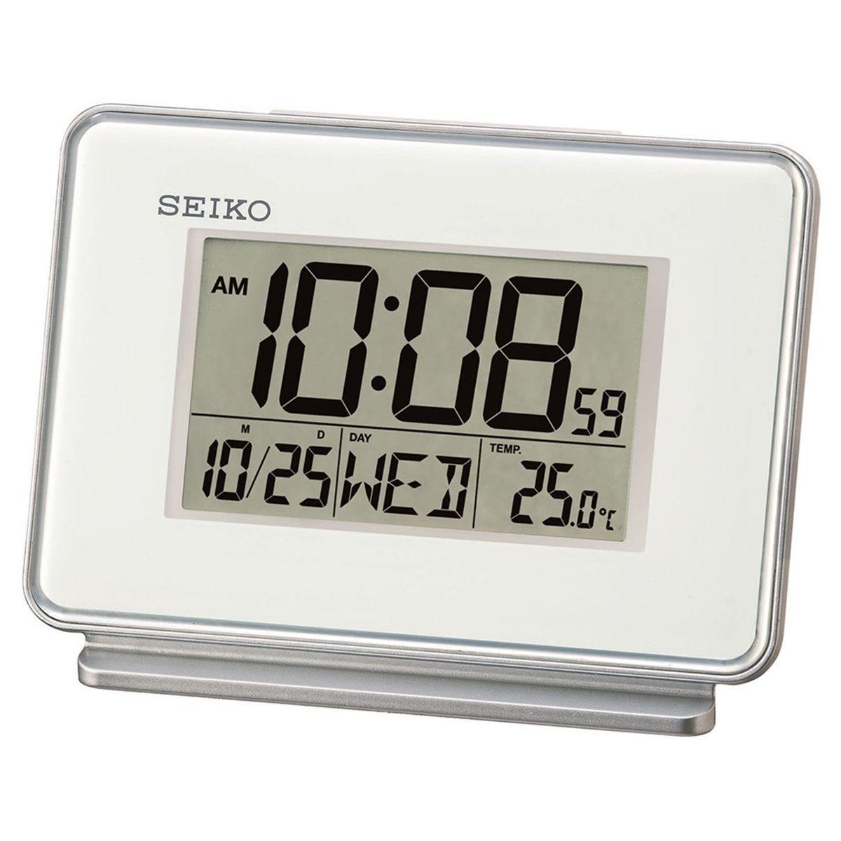 Seiko LCD Dual Alarm Calendar Clock - White
