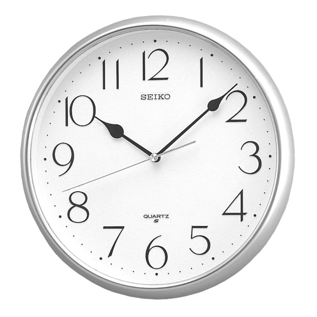 Seiko Quartz Wall Clock with Arabic Numerals - Silver