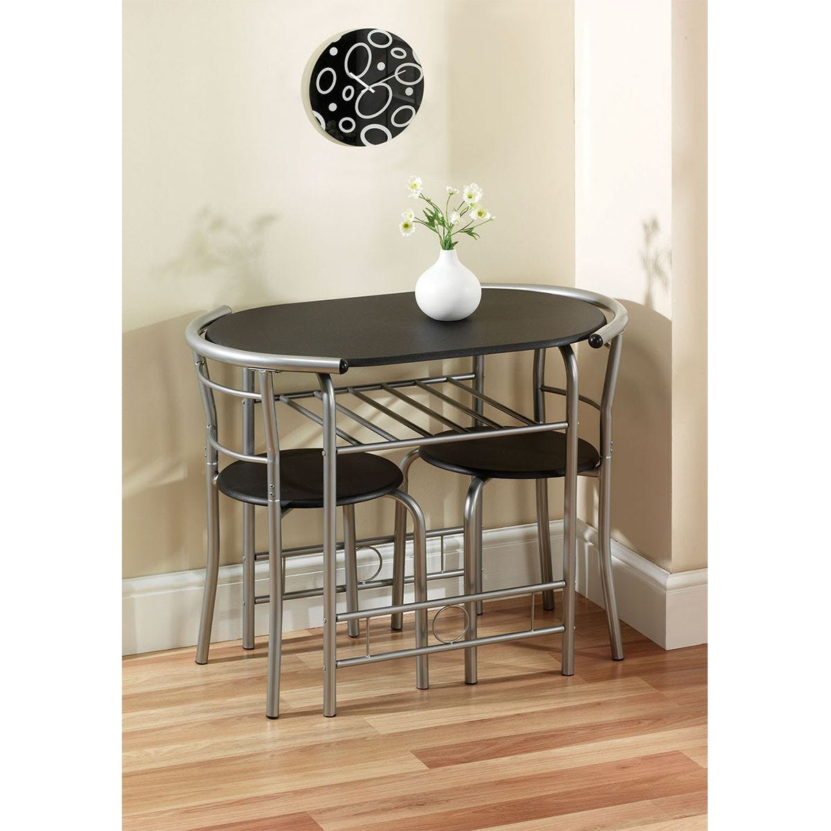 Gablemere Compact Dining Set - Black/Silver