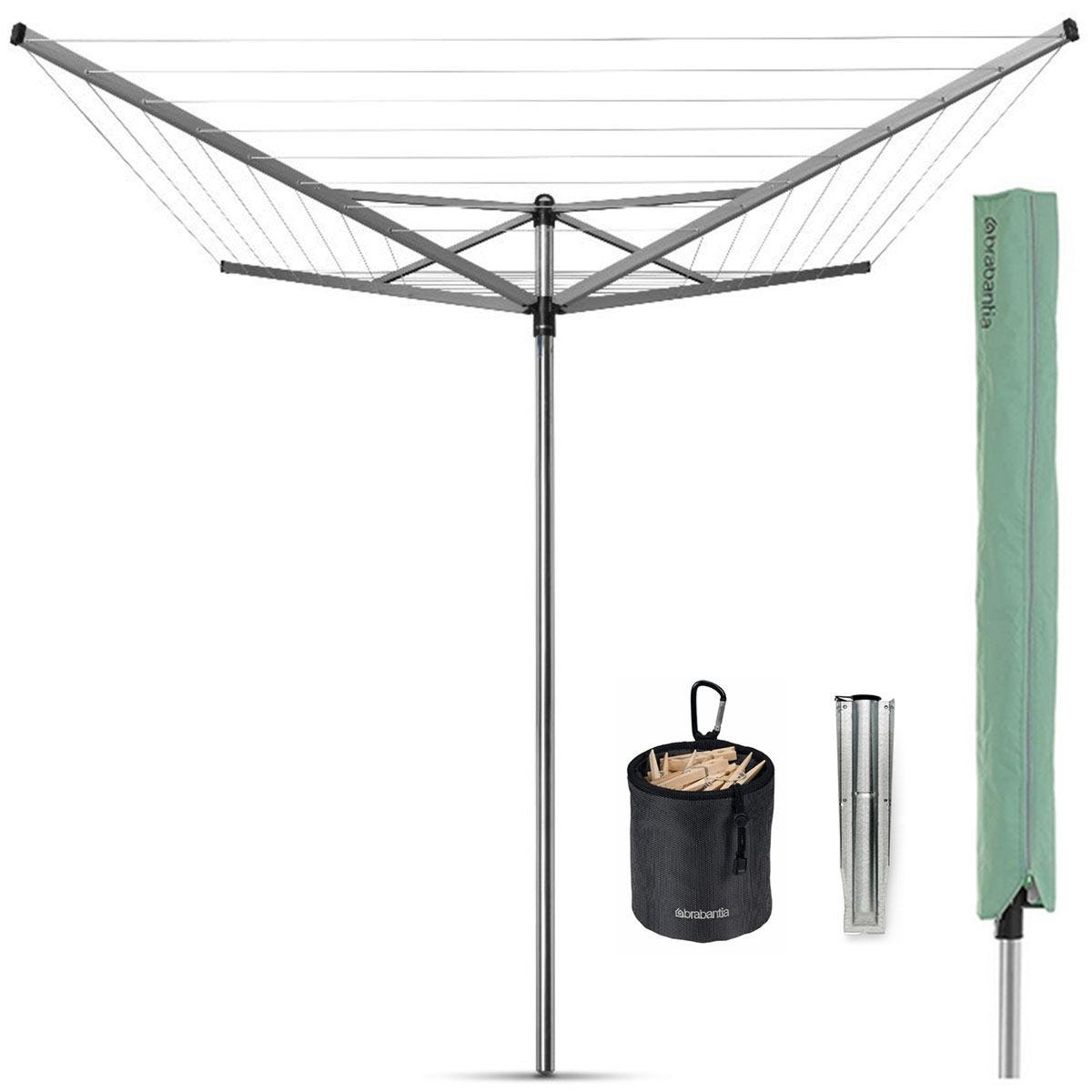 Brabantia Topspinner 40m 4-Arm Rotary Airer with Ground Spike and Accessories