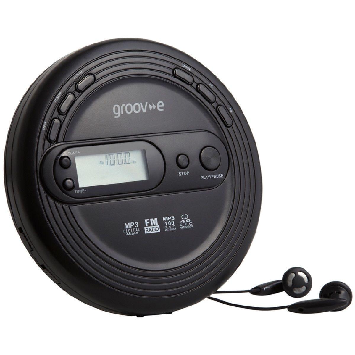 Groov-e Retro Series Personal CD Player with FM Radio - Black