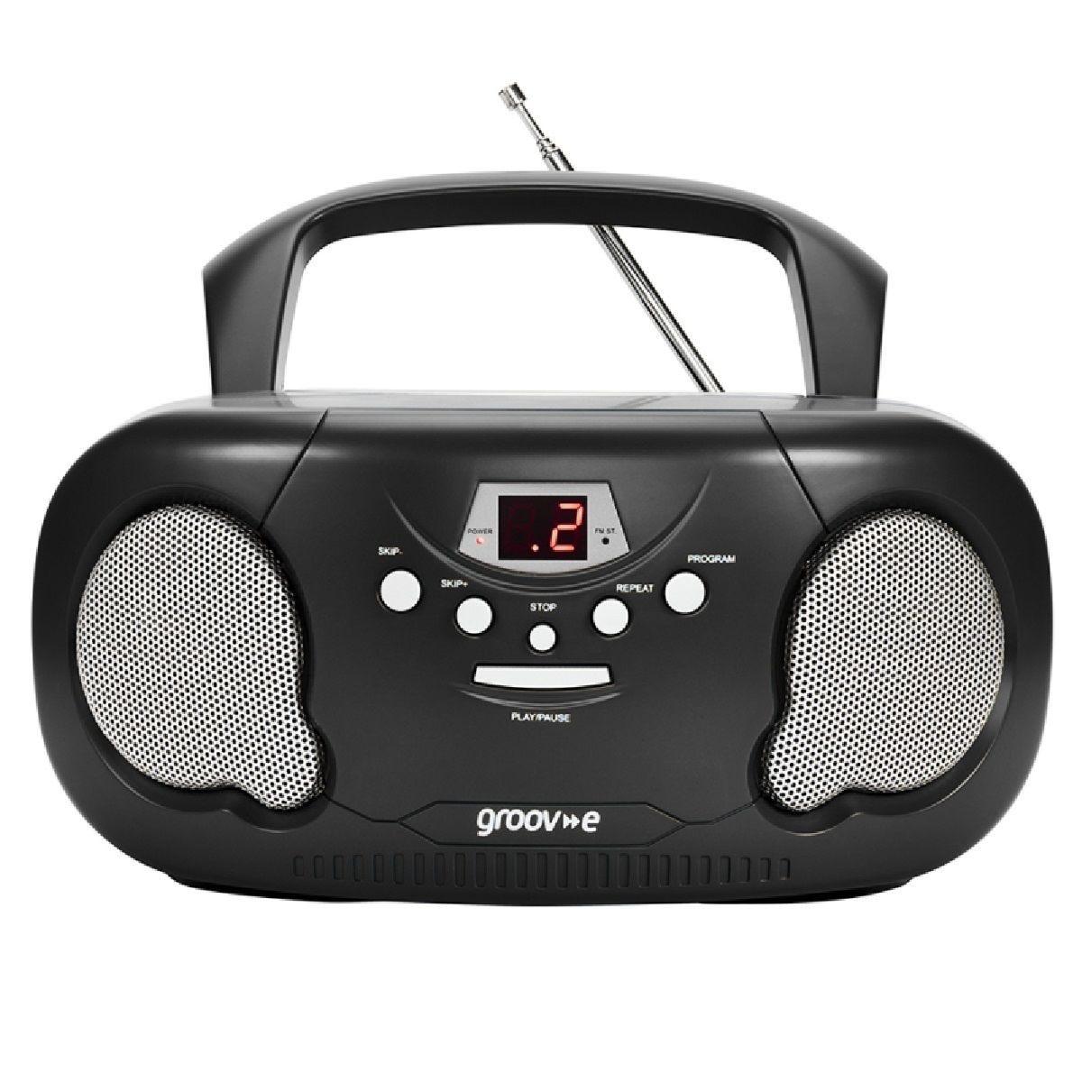 Groov-e Original Boombox Portable CD Player with Radio - Black