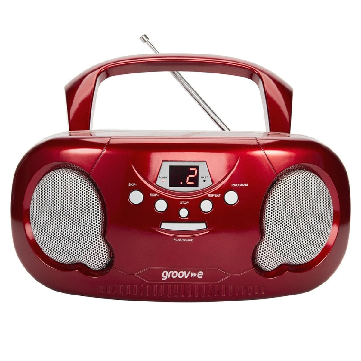 Groov-e Original Boombox Portable CD Player with Radio - Red