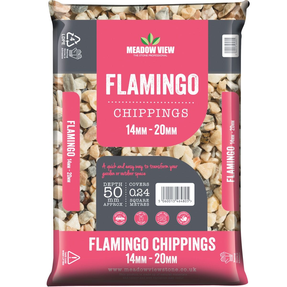 Meadowview Stone 20mm Pebbles Flamingo Poly Bags