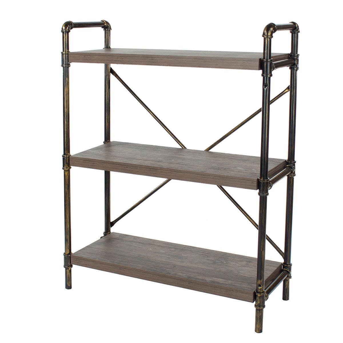 Gela Loft 3 Tier Bookshelf with Pipe Design Uprights
