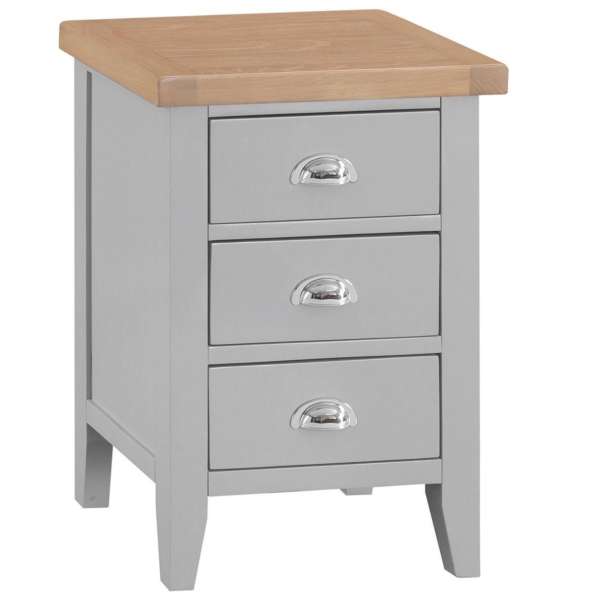 Madera 3 Drawer Narrow Bedside Table - Grey