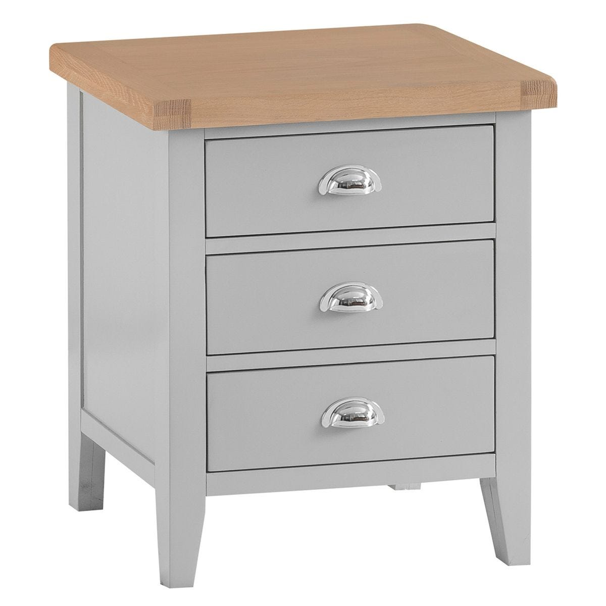 Madera 3 Drawer Bedside Table - Grey