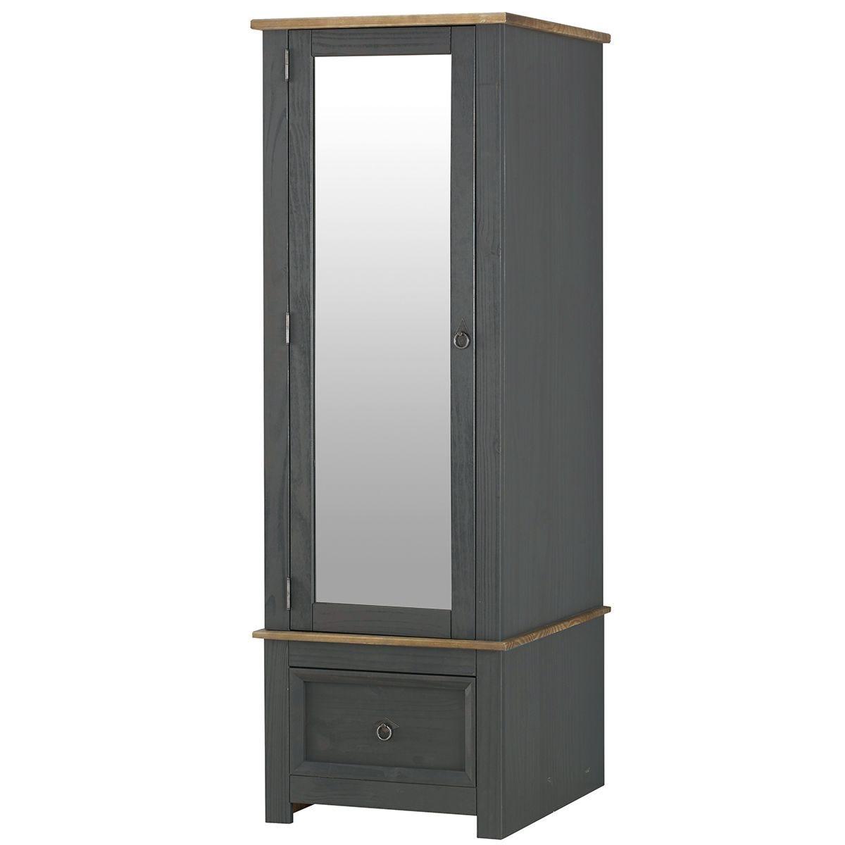 Halea Armoire Mirrored Door - Carbon