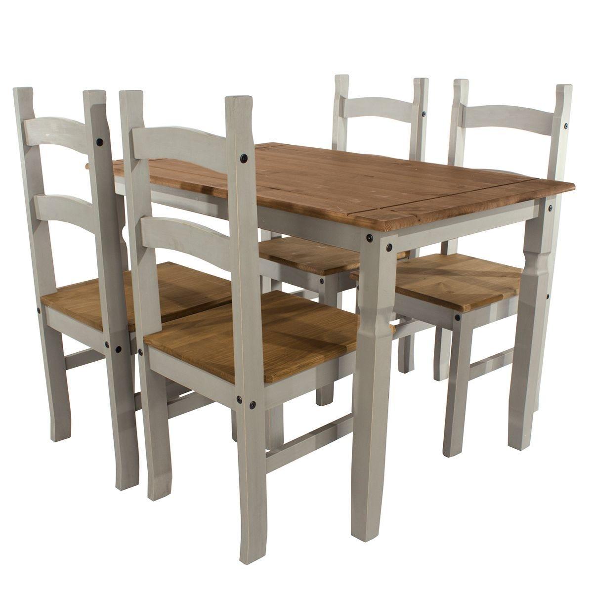 Halea Medium Rectangular Dining Table And 4 Chairs - Grey