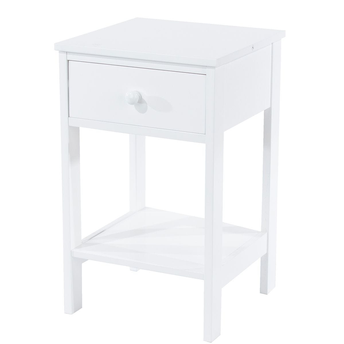 Sipla 1 Drawer Petite Bedside - White