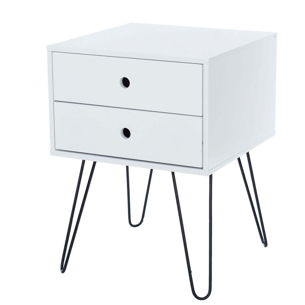 Tulo White and Metal 2 Drawer Bedside