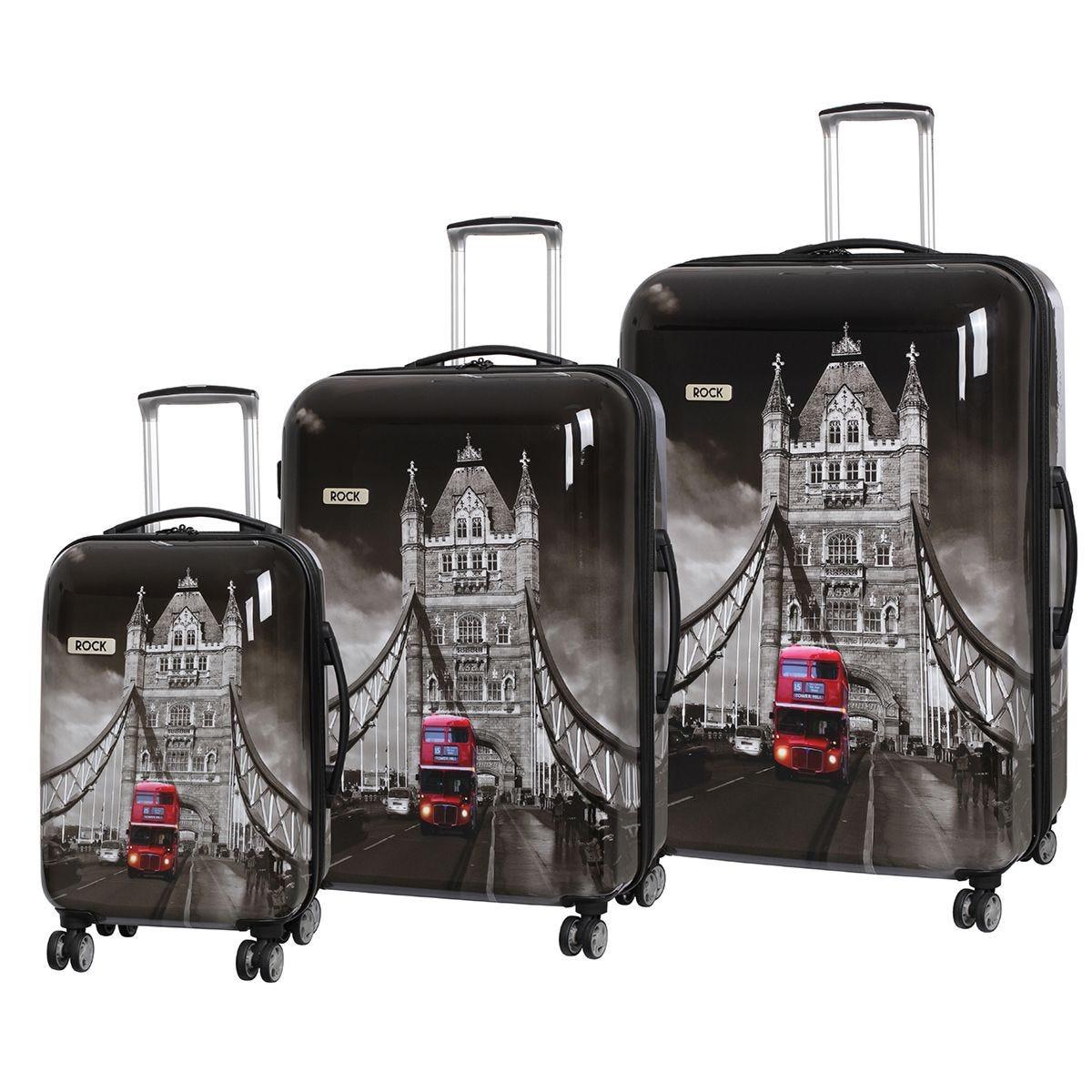 Rock Montana Expandable 8 Wheel Hard Shell Spinner Suitcase Tower Bridge (3pc set: 55/72/82cm)