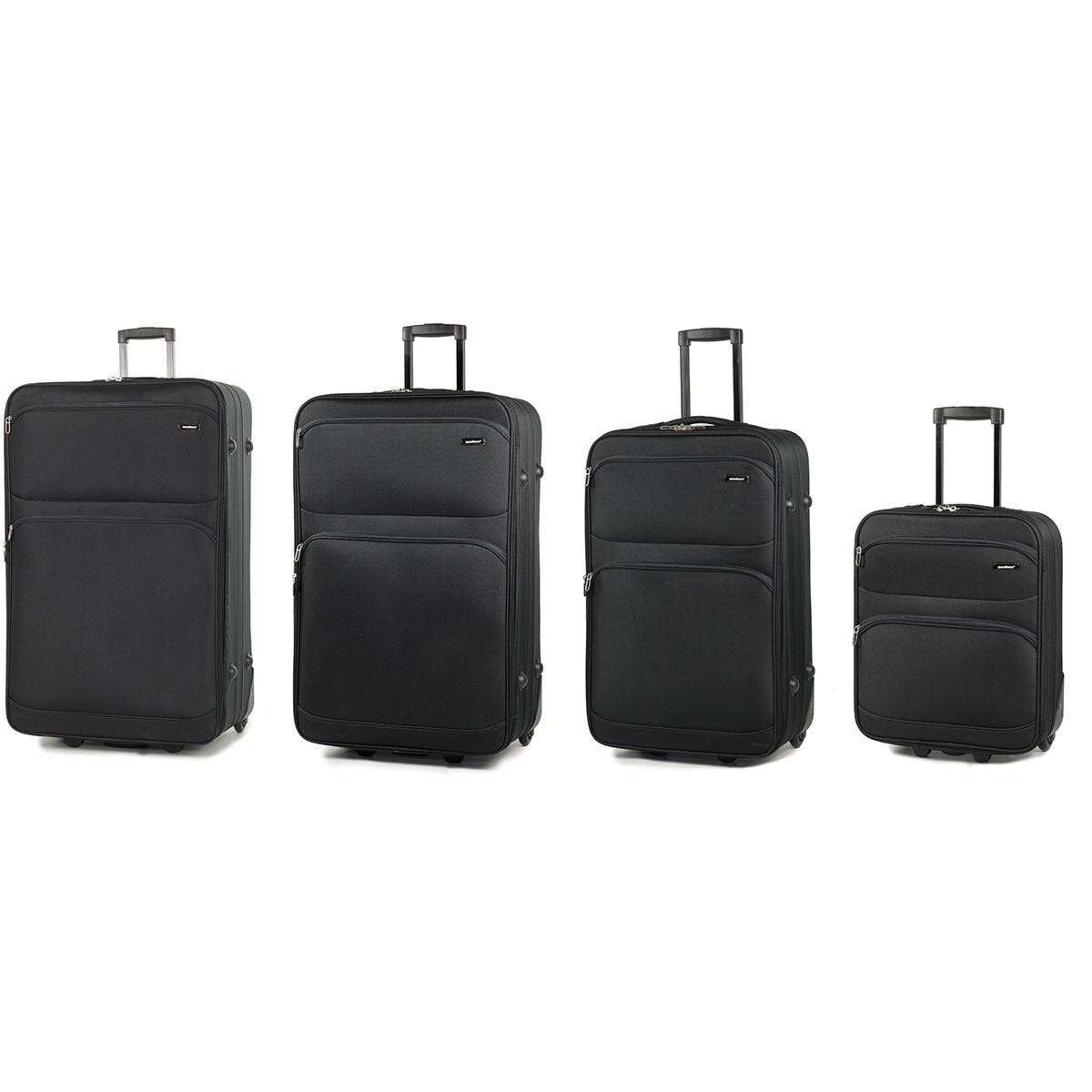 Members Topaz Set of 4 Lightweight Expandable Two Wheel Luggage - Black