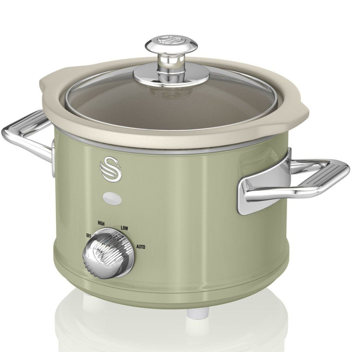 Swan SF17011GN 1.5L Retro Slow Cooker - Green