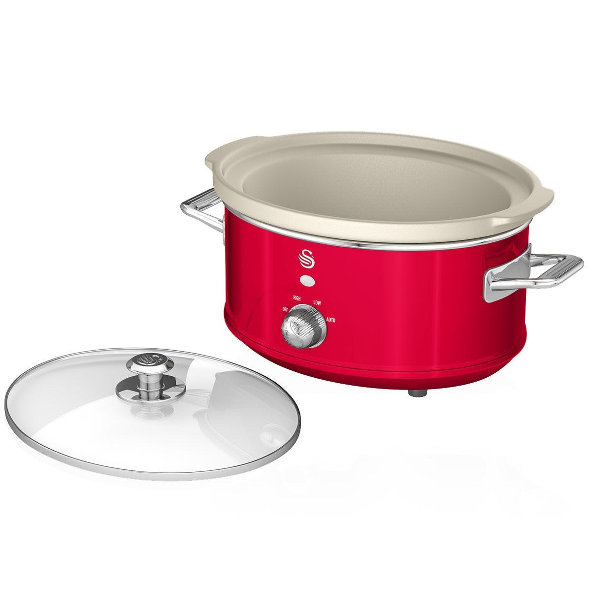 Swan SF17021RN 3.5L Retro Slow Cooker - Red