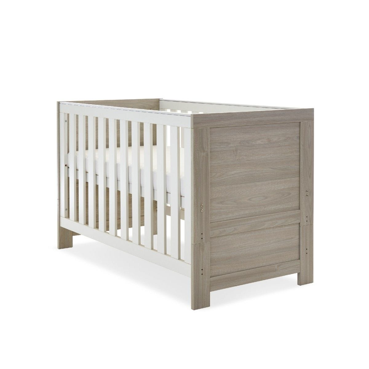 Obaby Nika Cot Bed Grey Wash and White