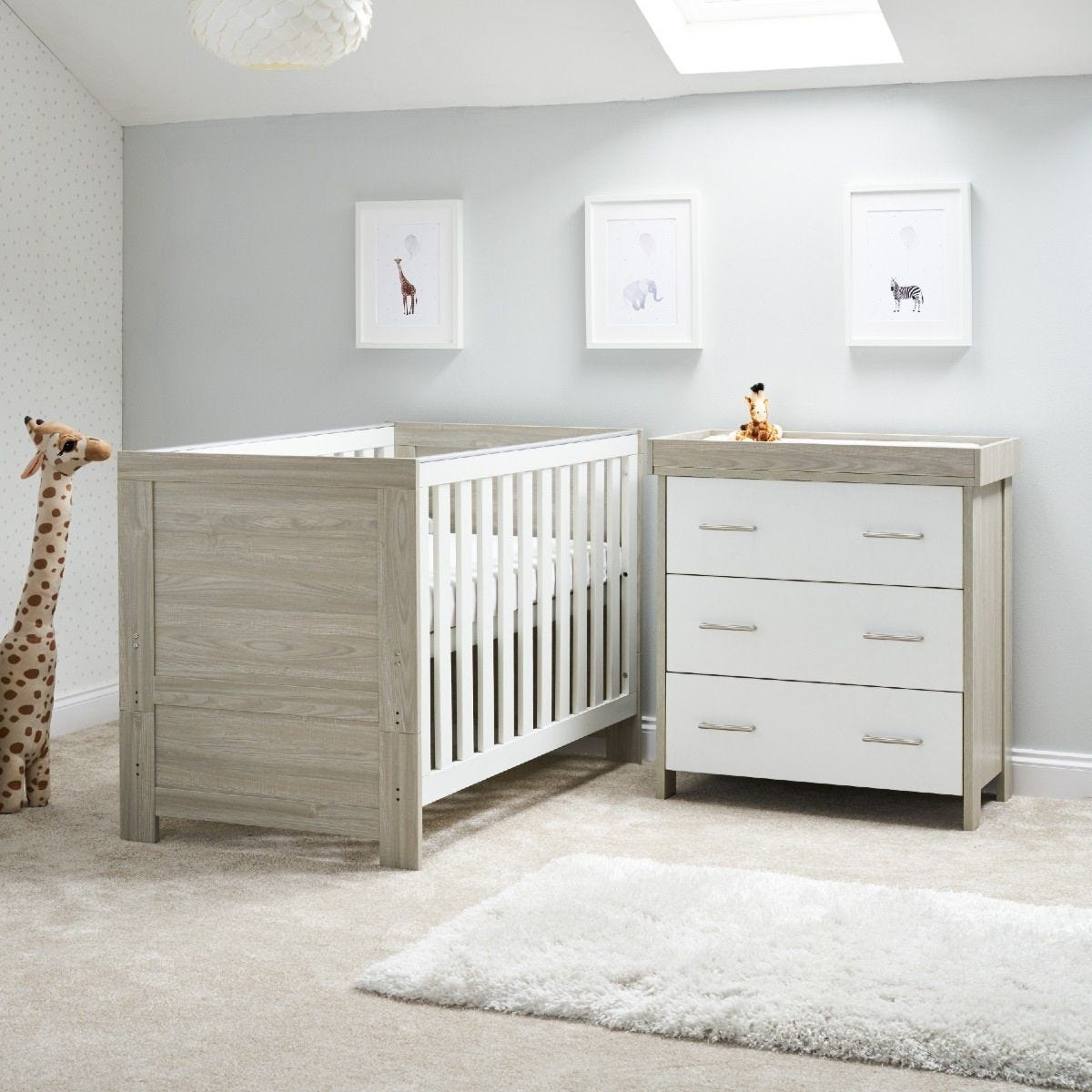 OBaby Nika 2 Piece Room Set Grey Wash and White