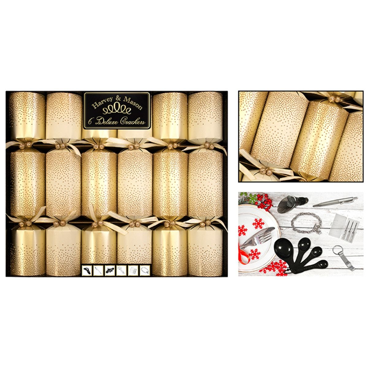 6 Deluxe Gold Glitter Crackers 13.5