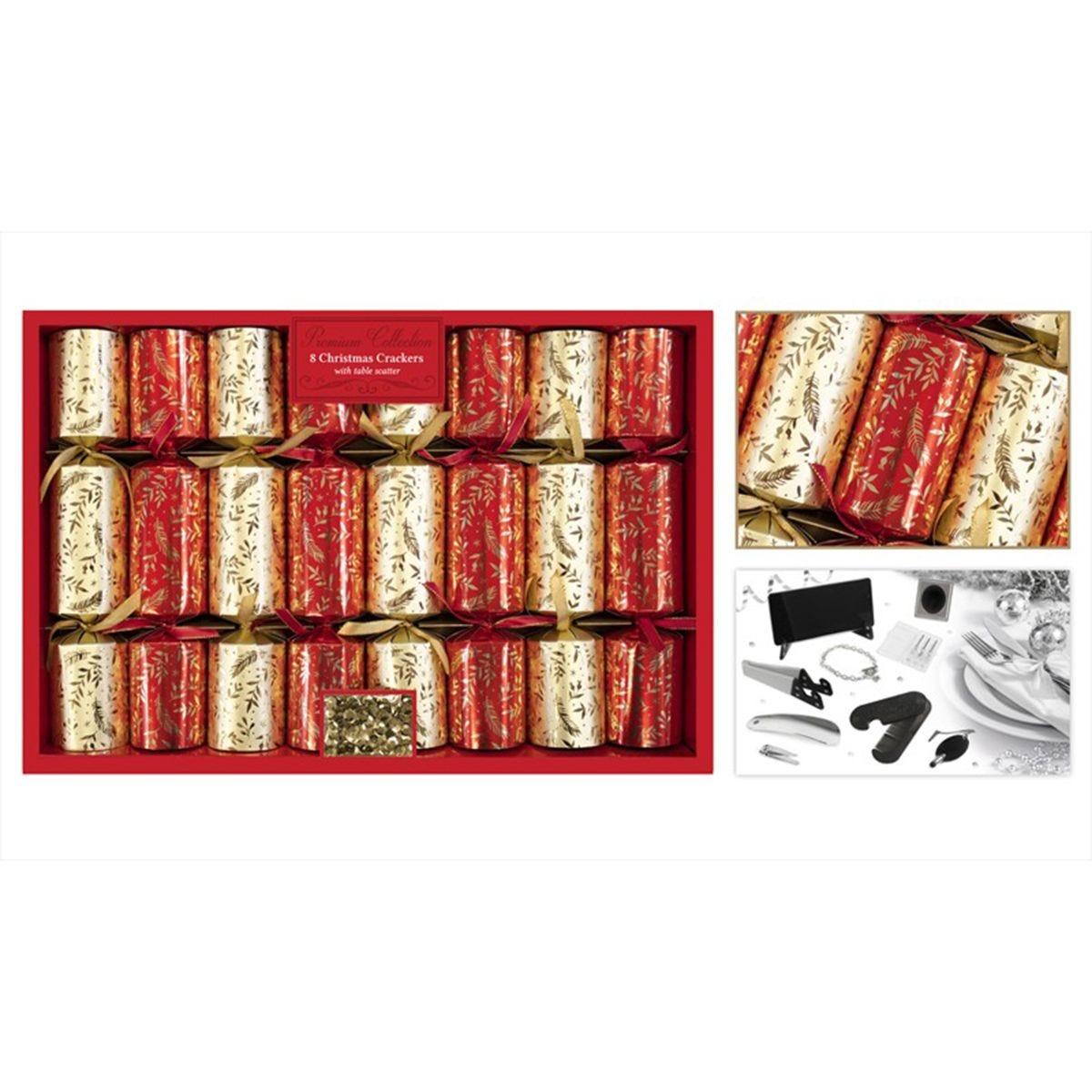 8 Premium Red & Gold Leaf Crackers 13.5