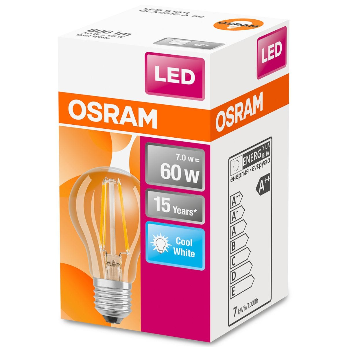 Osram Classic A 60W Clear Filament Dimmable ES Bulb - Cool White