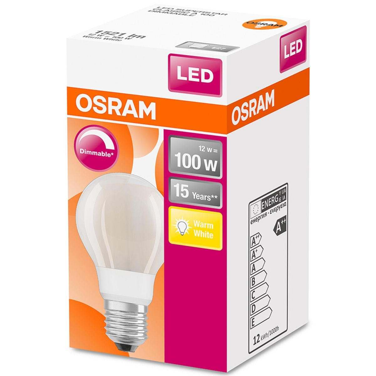 Osram Classic A 100W Frosted Filament Dimmable ES Bulb -  Warm White
