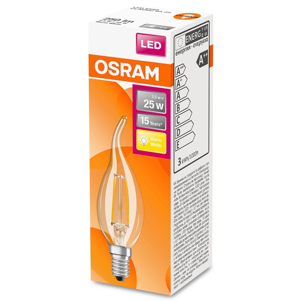 Osram Candle BA 25W Clear Filament SES Bulb - Warm White