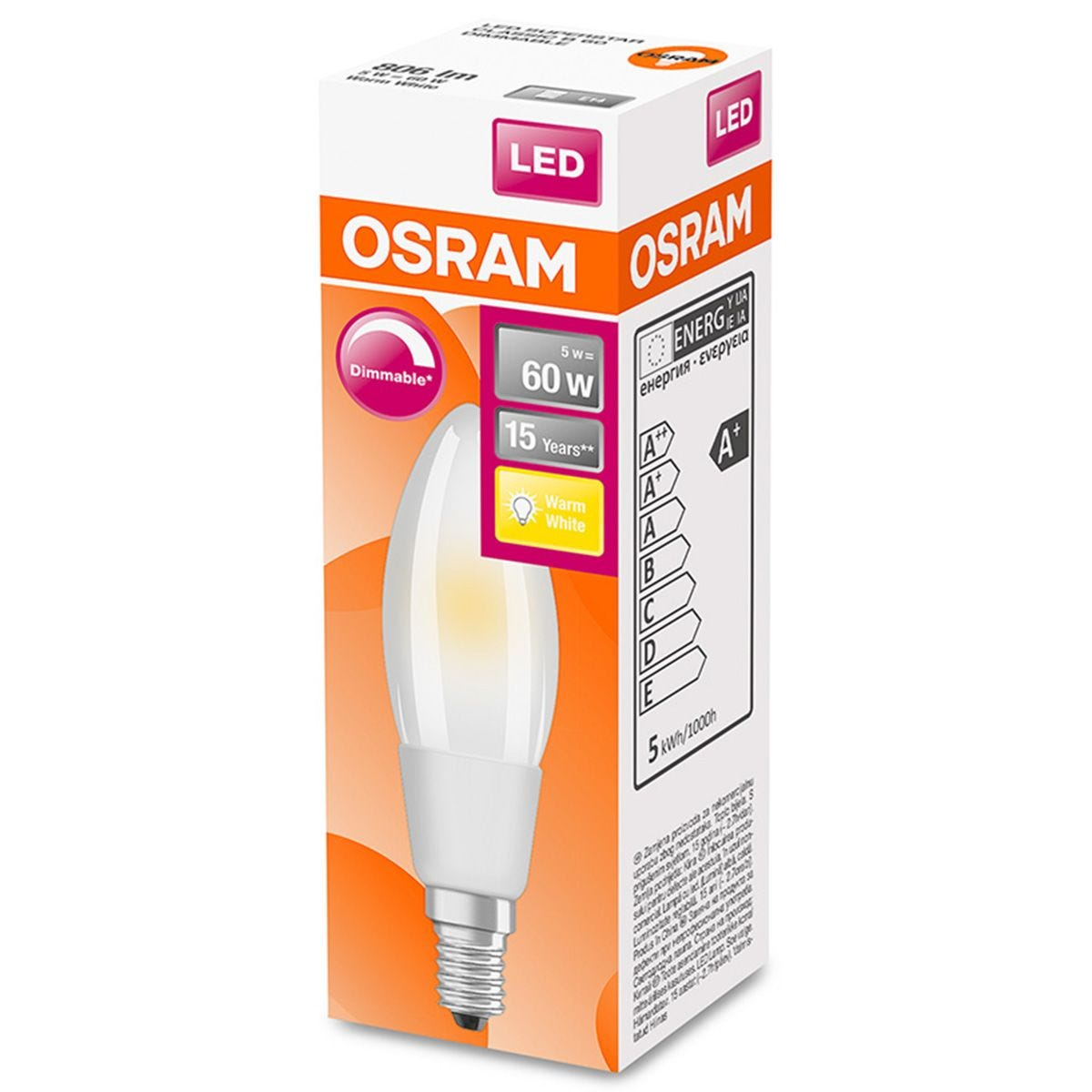 Osram Candle 60W Frosted Filament Dimmable SES Bulb - Warm White