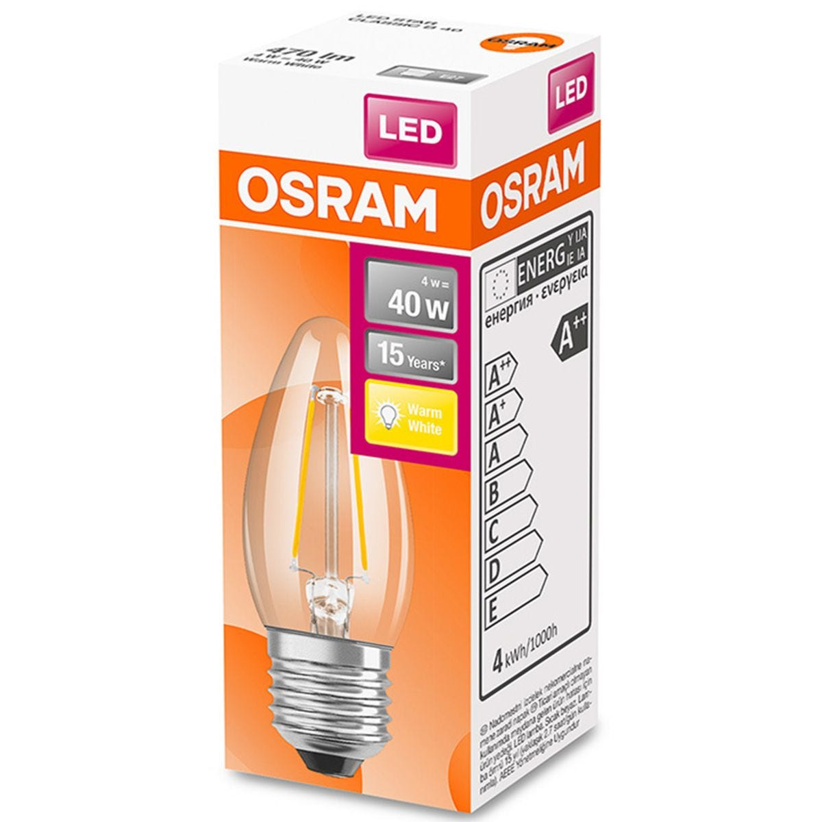Osram Candle 40W Clear Filament ES Bulb -  Warm White